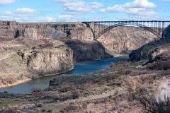 在Twin Falls,爱达荷的斯内克河峡谷 库存照片