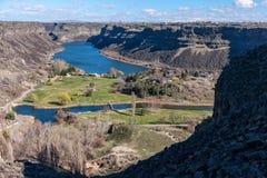 在Twin Falls,爱达荷附近的斯内克河峡谷 图库摄影