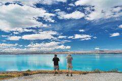 在Twizel附近的普卡基湖在Mt厨师国家公园在南岛,新西兰 库存照片