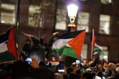 在U以后的亲巴勒斯坦抗议 S 作为认可市的声明耶路撒冷作为以色列的首都 免版税库存图片