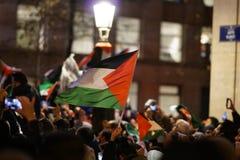 在U以后的亲巴勒斯坦抗议 S 作为认可市的声明耶路撒冷作为以色列的首都 库存图片