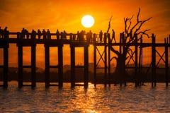 在U Bein柚木树桥梁的剪影在日落 缅甸缅甸 库存照片