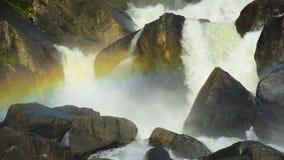在Uchar瀑布,阿尔泰,俄罗斯的彩虹 股票视频