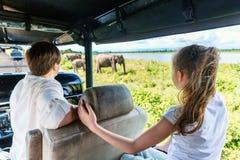 在Udawalawe国家公园的家庭 免版税库存图片