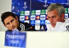 在UEFA Cheampions同盟新闻招待会期间的法兰・林柏特 图库摄影