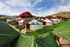 在Ulaanbaatar,蒙古的ger阵营 库存图片