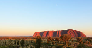 在Uluru,艾瑞斯岩石的日落 库存照片