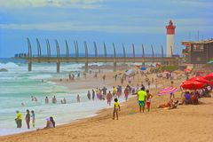 在Umhlanga岩石的公开海滩,南非 库存照片