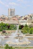 在Unirii广场,布加勒斯特的喷泉 图库摄影