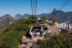 在Urca山的缆车驻地 库存照片