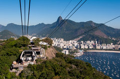 在Urca山的缆车驻地 免版税库存照片