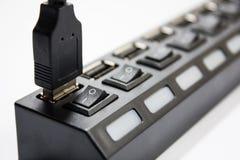 在usb插孔交换的Usb缆绳 库存照片