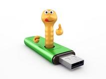 在USB闪光驱动器的蠕虫 库存图片