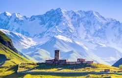 在Ushguli村庄的一个引人入胜的看法积雪覆盖的Mt的脚的 什哈拉山 免版税库存图片