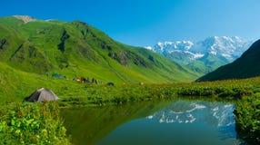 在Ushguli,乔治亚附近的远足者阵营。 免版税图库摄影