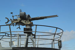在USS Pampanito的机枪一艘Balao班的柴油电动潜水艇赢得了二战服务的六个争斗星 免版税库存图片
