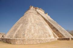 在Uxmal的Adivino金字塔,墨西哥 免版税库存图片