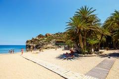 在Vai的著名海滩有东部克利特的,希腊一个美丽的棕榈森林的 库存照片