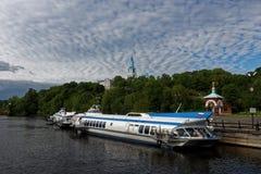 在Valaam海岛,俄罗斯的水翼艇 库存图片