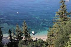 在Valtos海滩的早晨视图在Parga 库存图片