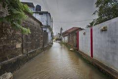在valvettithurai斯里兰卡的洪水 免版税库存照片