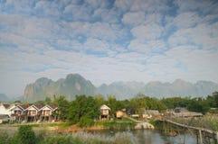 在Vang Vieng,老挝的早晨。 免版税库存照片