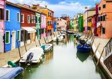 在Venise附近的Burano村庄 图库摄影