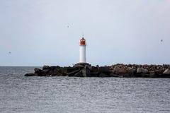 在ventspils的海灯塔,拉脱维亚 库存图片