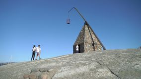 在Verdens Ende的古老灯塔Tjome的在挪威 股票视频