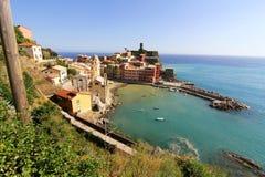 在Vernazza的视图在Cinque Terre 免版税库存照片
