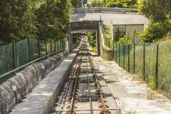 在Viana do Castelo的缆索铁路的跟踪 库存照片