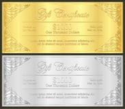 在vinta的豪华金黄和银色礼券 库存照片