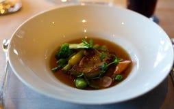 在VIP美食术餐馆批评枯萎的鸭子鹅肝用绿豆和莴苣优质膳食,豪华膳食独特的烹调 免版税库存图片