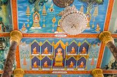 在Vipassana Dhura Budd的主要寺庙的天花板绘画 库存图片