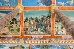 在Vipassana Dhura Budd的主要寺庙的天花板绘画 库存照片