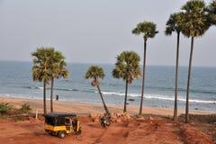 在Vishakhpatnam的Bhimili海滩 库存图片
