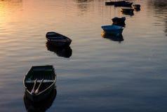 在Visla河的小船在普沃茨克,波兰 库存照片