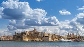 在Vittoriosa的St安吉洛堡垒在瓦莱塔 免版税库存图片