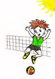 在volleybal的男孩戏剧 免版税库存图片