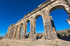 在Volubilis的古老罗马大教堂在摩洛哥 免版税库存照片