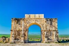 在Volubilis的Caracalla凯旋门,联合国科教文组织遗产站点在摩洛哥 免版税库存图片