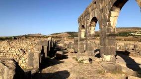 在Volubilis archaelogical联合国科教文组织遗产站点的罗马古老废墟  股票录像