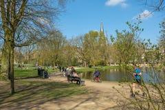 在Vondelpark,阿姆斯特丹坠入爱河 免版税库存图片