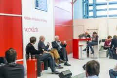 在vorwaerts的书发射站立在法兰克福书市2014年 库存照片