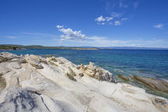 在vourvourou的希腊海景 库存图片