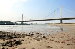 在waal河的暂挂的桥梁荷兰语 库存照片