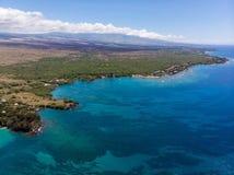 在Waialea海滩,大岛,夏威夷的鸟瞰图 免版税库存图片