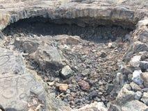 在Waikoloa刻在岩石上的文字储备的刻在岩石上的文字在夏威夷 免版税库存照片