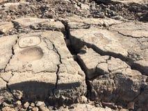 在Waikoloa刻在岩石上的文字储备的刻在岩石上的文字在夏威夷 库存图片
