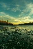 在waimakariri河的日落视图 免版税图库摄影